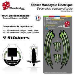 Planche Sticker Monocycle électique décoration Monster Energy