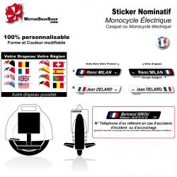 Sticker nominatif oblique monocycle électrique personnalisable