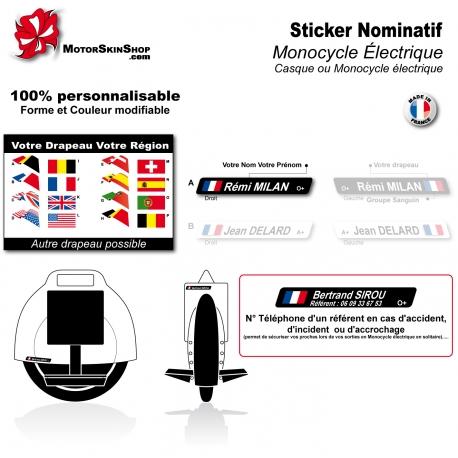 Sticker nominatif monocycle électrique personnalisable