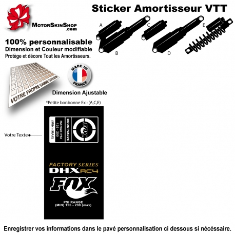 Sticker Amortisseur FOX VTT Bonbonne