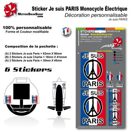 Sticker je suis Paris Monocycle électique décoration