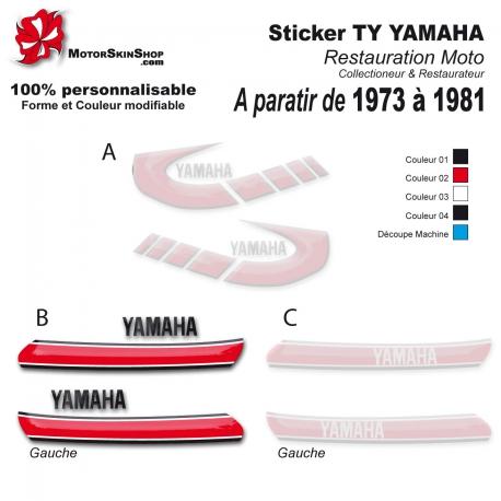 Sticker TY Yamaha restauration de 1973 à 1981