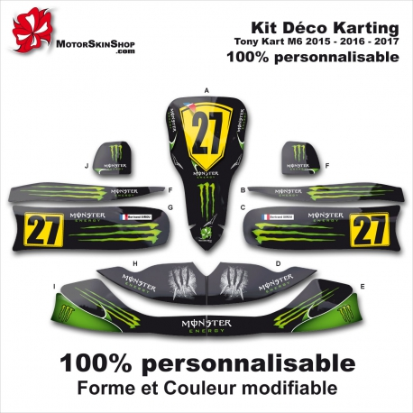 Kit déco Karting Tony Kart M6 Personnalisable Monster Energy