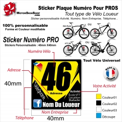 Sticker Plaque Numéro identification Vélo Pro Loueur