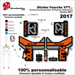 Sticker Fourche FOX Racing Factury Shox 32 SC performance 2017