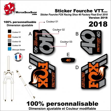 Sticker Fourche FOX Racing 2018 Shox 40 Factory Float Evol