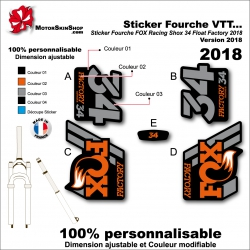 Sticker Fourche FOX Racing Shox 34 Float Factory 2018