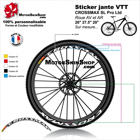 """Sticker jante VTT CROSSMAX SL Pro Ltd Mavic 26"""" 27.5"""" 29"""""""