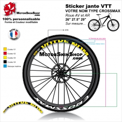 "Sticker jante VTT Votre NOM Type CROSSMAX 26"" 27.5"" 29"""