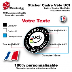 Sticker Cadre Vélo UCI APPROVED Texte modifiable