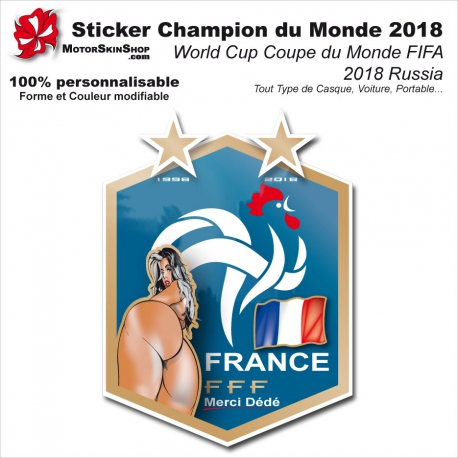 Sticker Champion du Monde football 2018 World Cup Coupe du Monde FIFA 2 étoiles