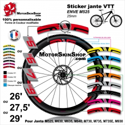Sticker jante VTT ENVE M5 M6 M7 ou M9 2018 25mm Carbon Fiber Wheelset