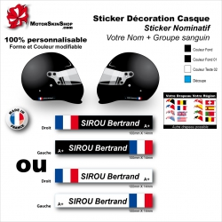 Sticker Nominatif Casque Moto Décoration Nom + Groupe Sanguin + Drapeau
