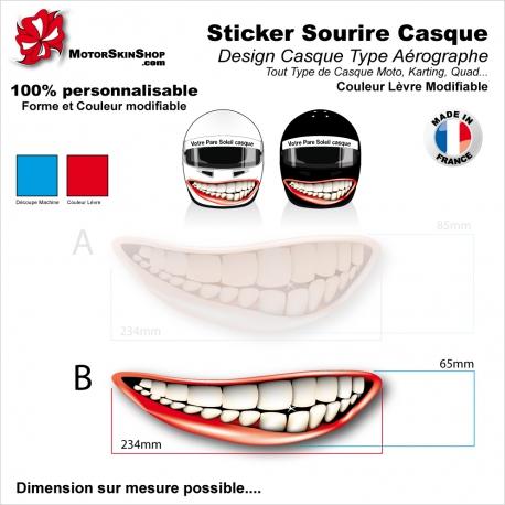 Sticker Décoration casque Sourire Type aérographe mentonnière Couleur modifiable