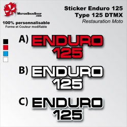 Sticker Enduro 125 Yamaha Type DTMX blanc Noir ou Rouge