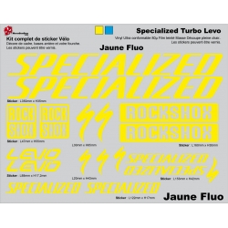 Sticker cadre vélo VTT Specialized Turbo Levo Jaune Fluo