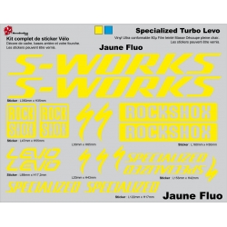 Sticker cadre vélo VTT Specialized S WORKS Turbo Levo (Jaune Fluo)