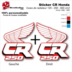 Sticker CR125 CR250 CR500 Ouies de Radiateur Honda de 1988