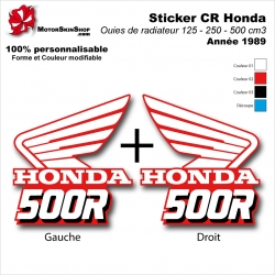Sticker CR125 CR250 CR500 Ouies de Radiateur Honda de 1989