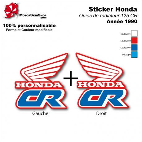 Sticker CR125 Ouies de Radiateur Honda de 1990