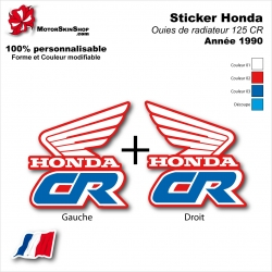 Sticker CR125 Ouies de Radiateur Honda de 1990