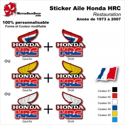 Sticker Honda HRC Ouies de 1973 à 2007 Radiateur Honda