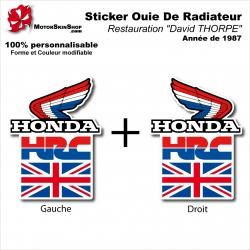 "Sticker Ouies de Radiateur David THORPE"" Honda 1987"