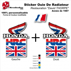 "Sticker Ouies de Radiateur HRC ""David THORPE"" Honda 1987"