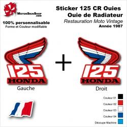 Sticker Honda CR125 de 1987 Ouie Radiateur Honda