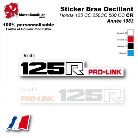 Sticker Bras Oscillant CR125 CR250 CR500 Honda 83 Vintage