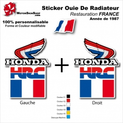 Sticker Ouies de Radiateur HRC Drapeau FRANCE Honda 1987