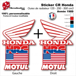 Sticker CR125 CR250 CR500 USA Ouies de Radiateur Honda HRC 1989