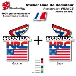Sticker Ouies de Radiateur HRC Drapeau USA Honda 1987