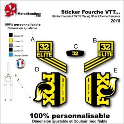 Sticker Fourche VTT FOX 32 Racing Shox Elite Performance 2018 Fourche Noir