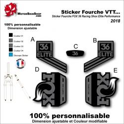 Sticker Fourche VTT FOX 36 Racing Shox Elite Performance 2018 Fourche Noir