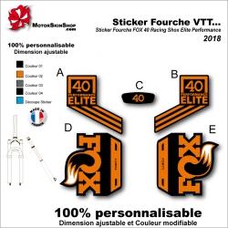 Sticker Fourche VTT FOX 40 Racing Shox Elite Performance 2018