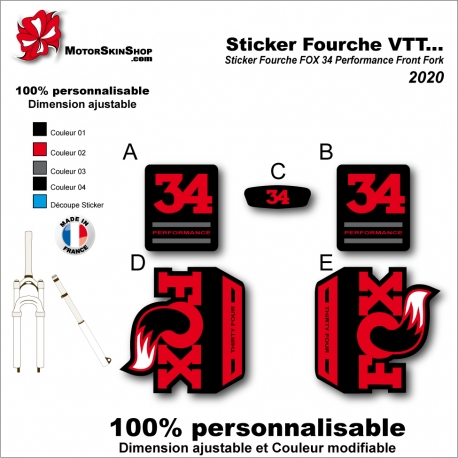 Sticker Fourche VTT FOX 34 Performance Front Fork 2020 Fourche Noir