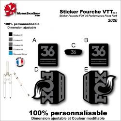 Sticker Fourche VTT FOX 36 Performance Front Fork 2020 Fourche Noir