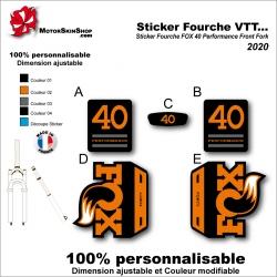 Sticker Fourche VTT FOX 40 Performance Front Fork 2020 Fourche Noir