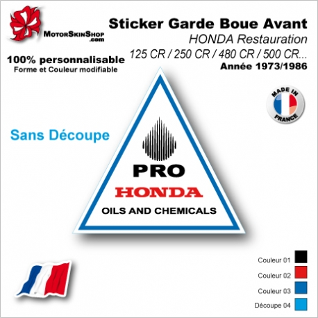 Sticker Garde Boue Avant HONDA Restauration 125 CR / 250 CR / 480 CR / 500 CR de 1973 à 1986