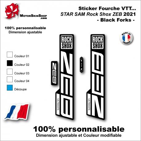 Sticker Fourche VTT 2021 STAR SAM Rock Shox ZEB Black Forks Fourche Noir