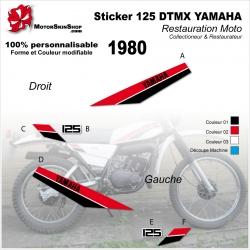 Sticker 125 DTMX Yamaha 1980 Réservoir Noir ou Blanc