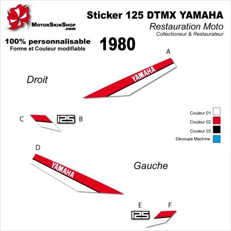 Sticker 125 DTMX Yamaha 1980 autocollant Type origine Réservoire Noir ou Blanc