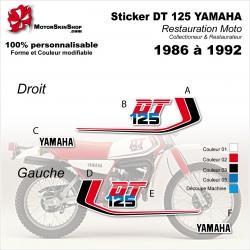 Sticker 125 DTMX DT 125 YAMHA 1986 à 1992 DT 125 Réservoir Blanc ou noir