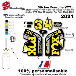 Sticker Fourche VTT FOX 34 2021 Fork Heritage Collection Noir