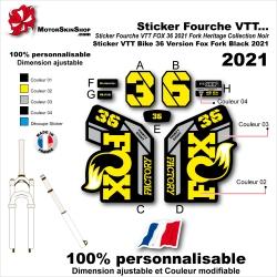 Sticker Fourche VTT FOX 36 2021 Fork Heritage Collection Noir