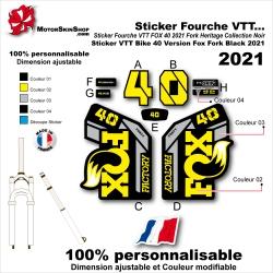 Sticker Fourche VTT FOX 40 2021 Fork Heritage Collection Noir