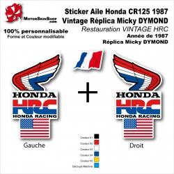 Sticker Aile Honda CR125 1987 Vintage Réplica Micky DYMOND Restauration VINTAGE HRC