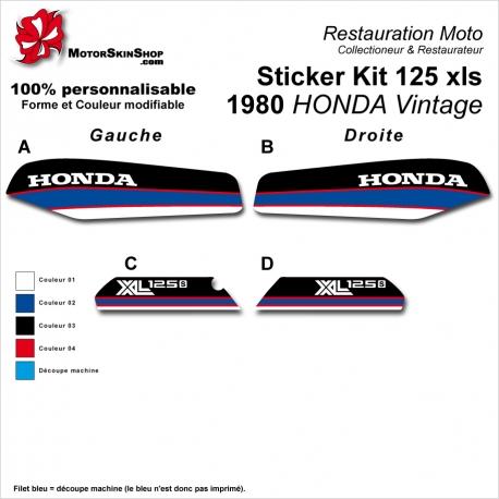 Sticker Kit 125 xls 1980 HONDA Vintage Noir Bleu Blanc