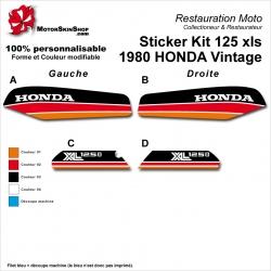 Sticker Kit 125 xls 1980 HONDA Vintage Noir Rouge Orange